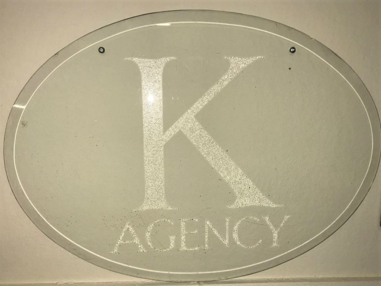 """Glass Etched Advertising Sign """"K Agency"""""""