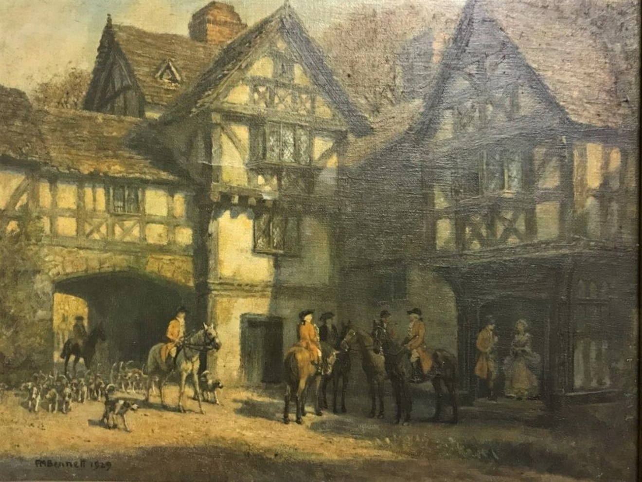 """Oleograph Print """"Meet at the Manor"""""""