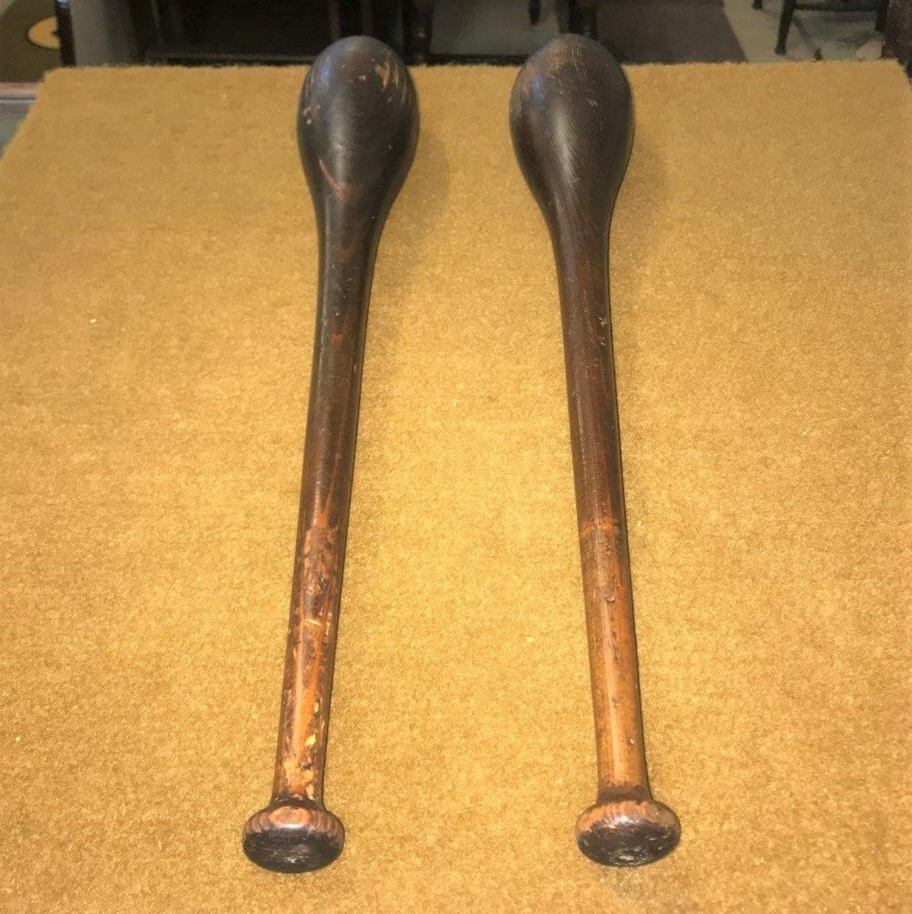 Pair of Antique Indian Exercise Clubs / Pins