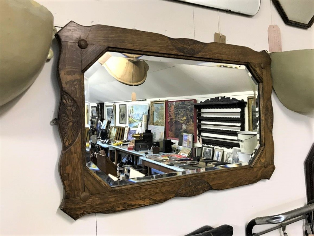 Arts & Crafts Oak Carved Bevelled Glass Mirror