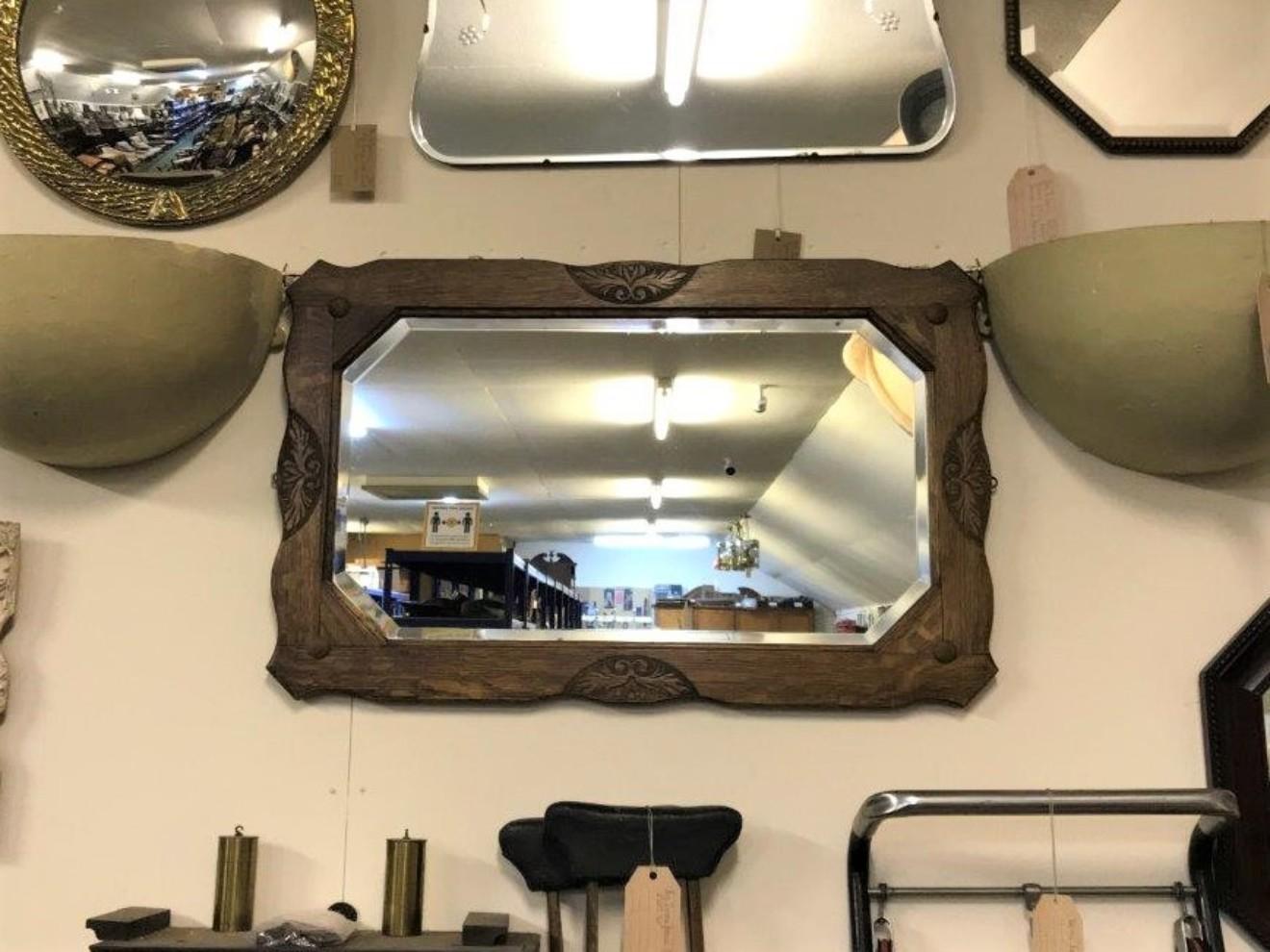 Arts & Crafts Oak Carved Bevelled Glass Mirror