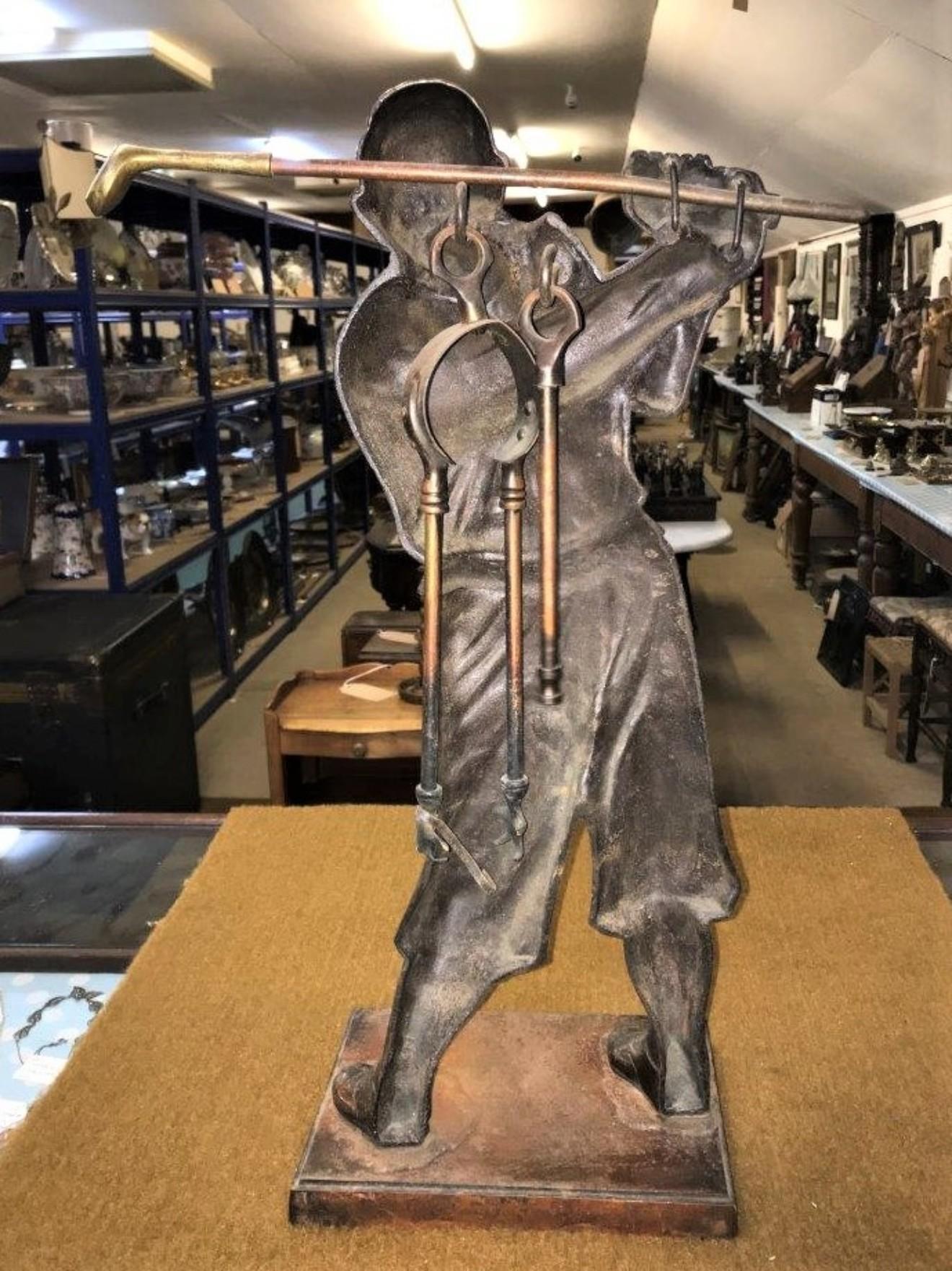 Bronze Golfer Fireside Companion Set