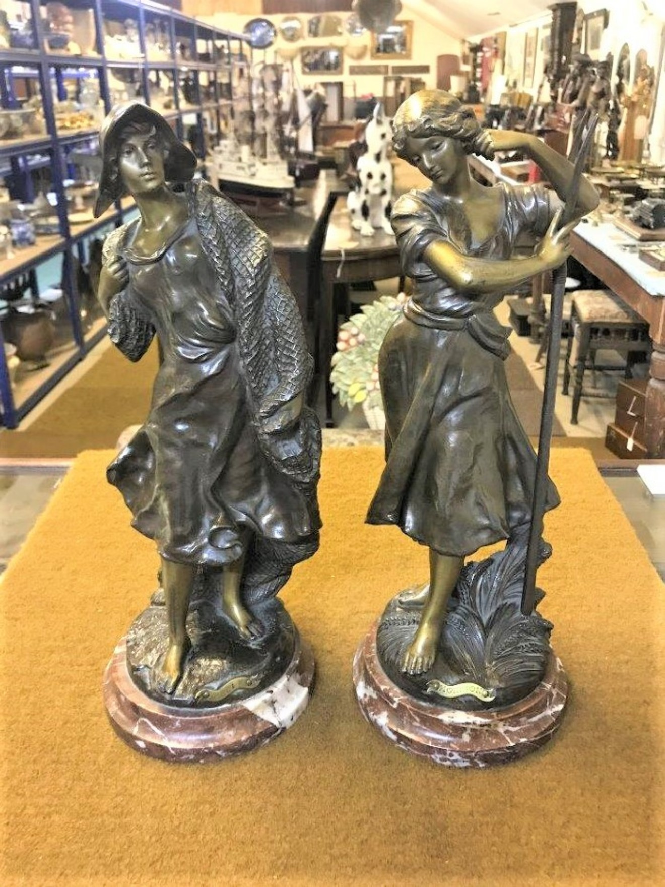 Pair of Bronzed Spelter Figures Peche and Moisson on Marble Bases