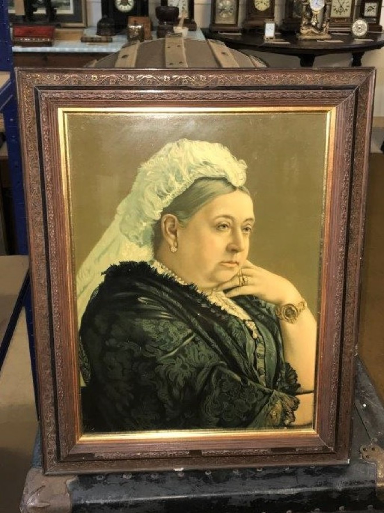 Lithograph Print Seated Widowed Queen Victoria