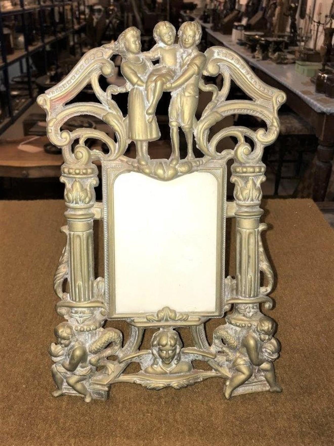Art Nouveau Brass Repousse Easel Photo Frame