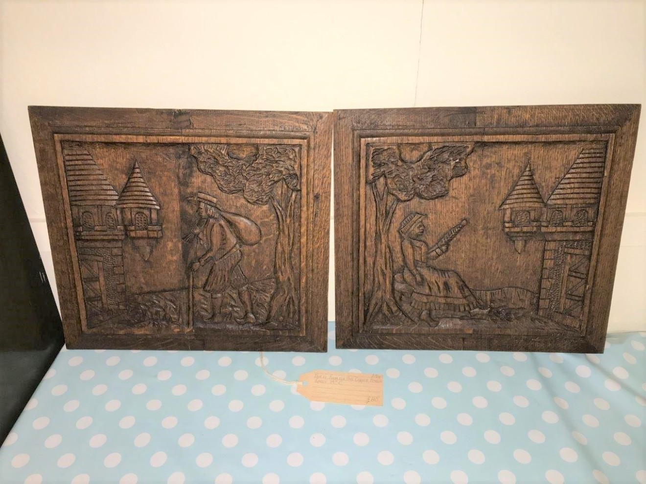 Pair of Flemish Oak Carved Relief Panels