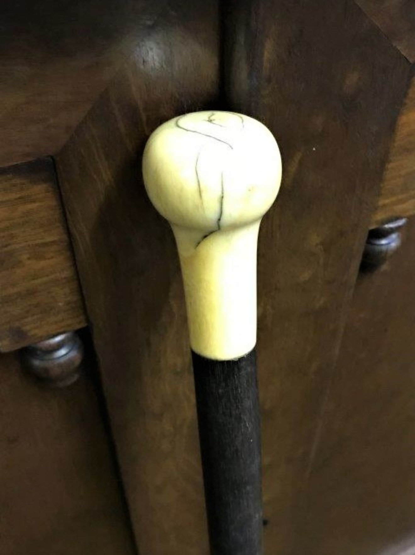 Ebonised Walking Stick Bone Handle