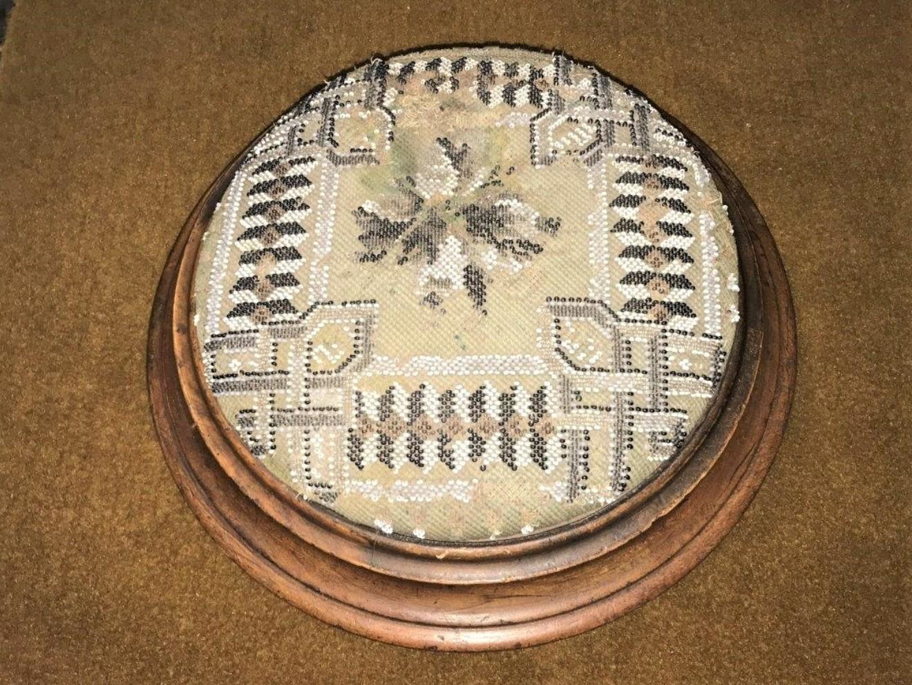 Walnut Footstool Beaded Covers