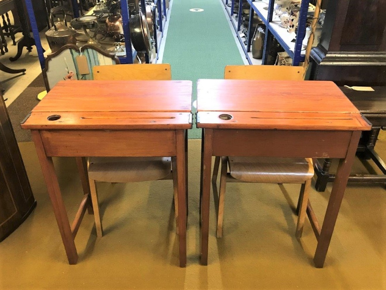 Pair 1950s School Desks & Chairs