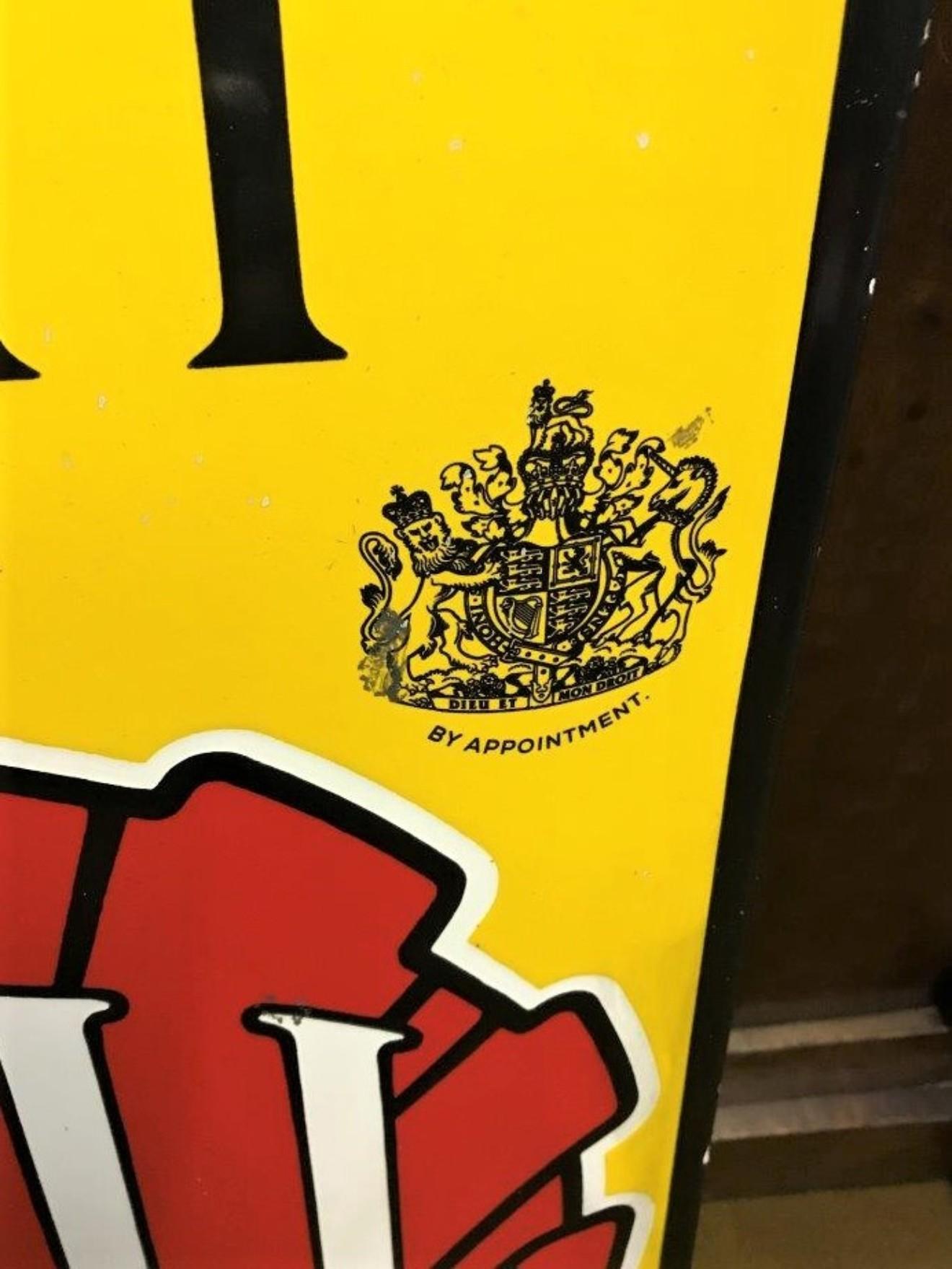 Vintage Royal Crested Shell Spirit Oils Enamel Sign