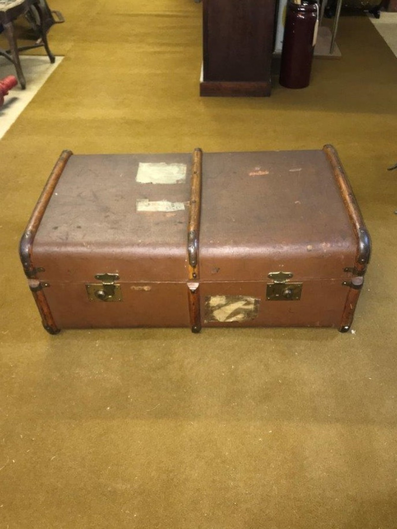 Bentwood Banded Canvas Steamer Trunk