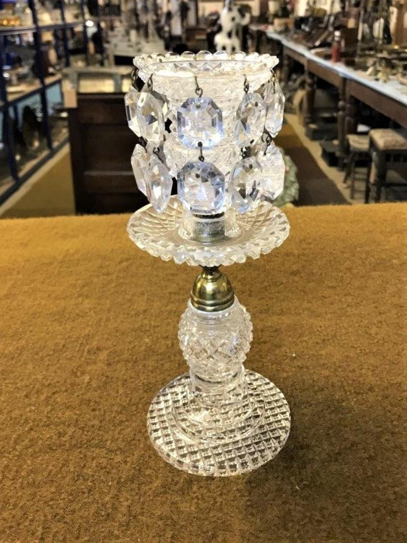 Late Victorian Cut Glass Lustre Candlestick