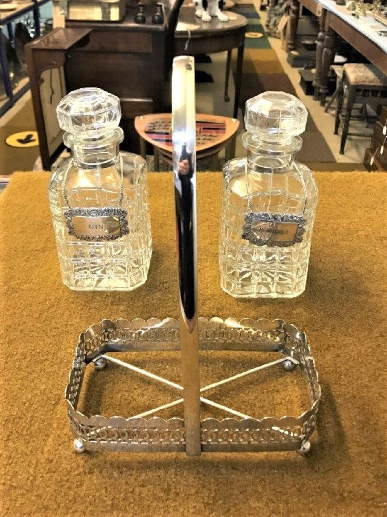Silver Plated Two Bottle Tantalus