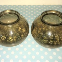 Pair Glass / Stone Glazed Flower Vases