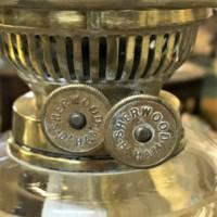 Antique Oil Lamp Faceted Glass Font Brass Repousse Column on a Circular Terracotta Glazed Plinth
