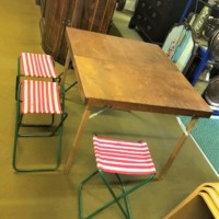 Vintage Portable Childrens Picnic Table and Stools
