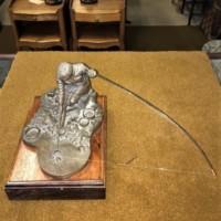Bronze Effect Resin Sculpture of Fisherman Landing a Fish