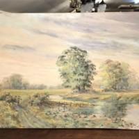 "Oil Painting R.O. Dunlop ""Towards Arundel Limpingwoody"""