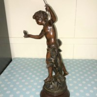 """Bronzed Spelter Figure """"Pecheur"""""""