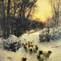 """Framed Joseph Farquharson Print """"The Sun Had Closed"""""""