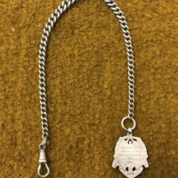 Silver Watch Chain & Fob / Cricket Medal