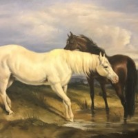 """Oil Painting 'Horses Grazing"""""""