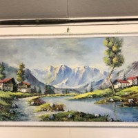 """Large Print on Card """"Swiss Chalets"""""""