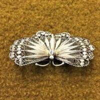 White Metal Filigree Butterfly Brooch