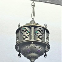 Pierced Brass and Cabochon Lamp Shade