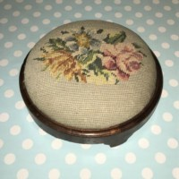 Walnut Needlepoint Footstool
