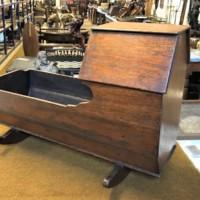 Antique Wooden Rocking Doll's Cradle