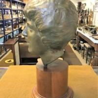 Plaster Bust of a Man on an Oak Plinth