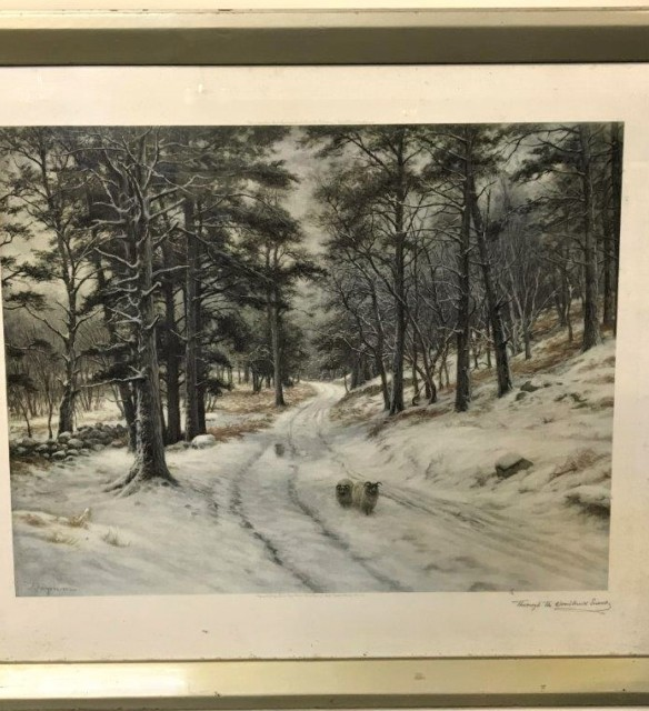 "Joseph Farquharson Print ""Through the Woodland Snow"""