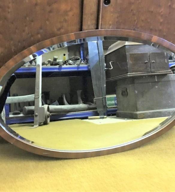 Vintage Oval Wooden Frame Bevelled Edge Mirror