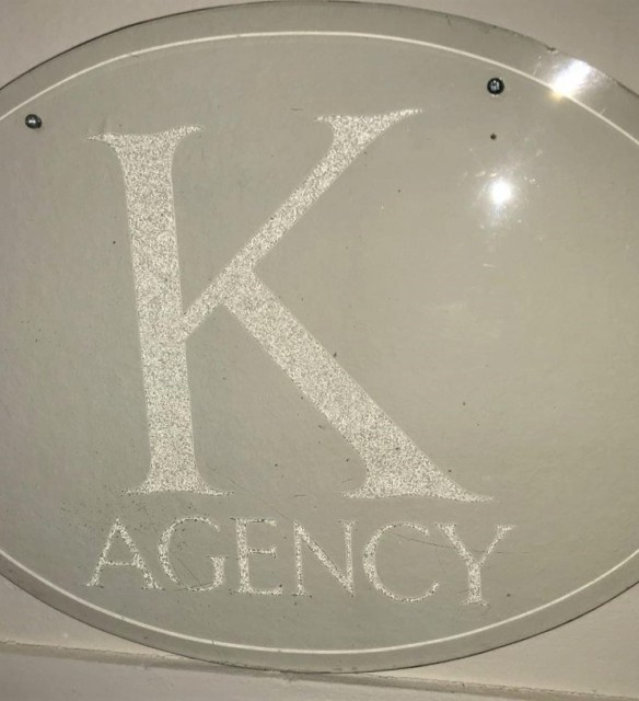 "Glass Etched Advertising Sign ""K Agency"""