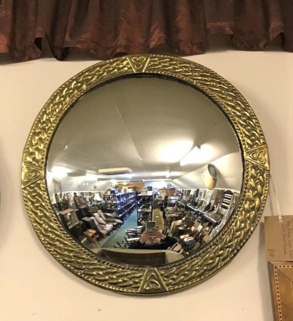 Brass Rimmed Convex Arts & Crafts Mirror