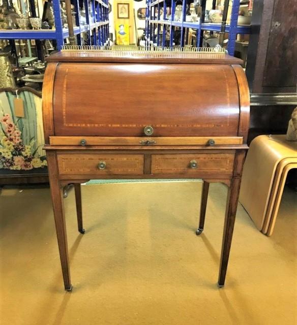 Edwardian Mahogany Inlaid Cylinder Top Desk