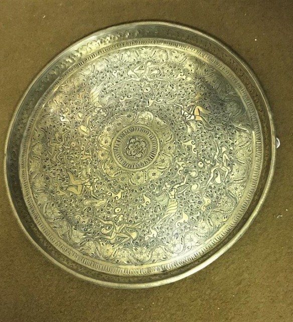 Asian Circular Engraved Heavy Brass Tray