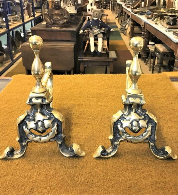 Vintage Pair of Cast Brass Fireside Dogs