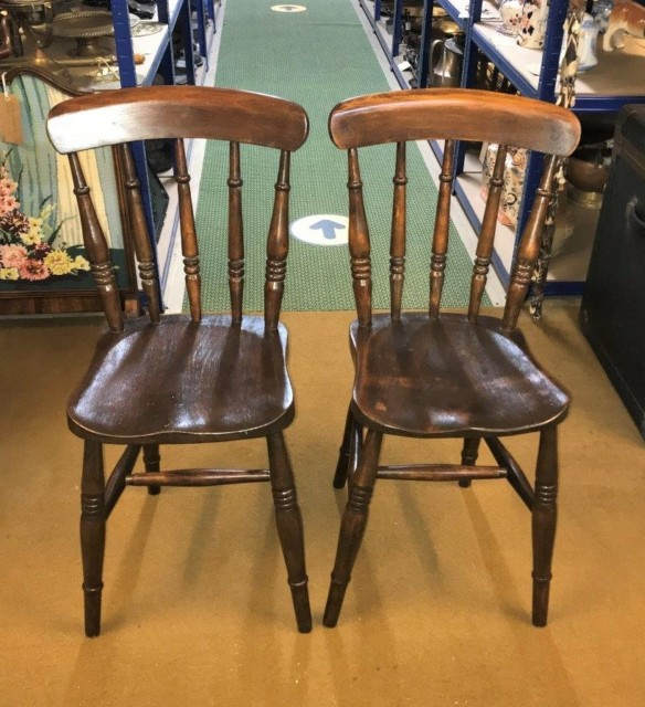 Pair Farmhouse Kitchen Chairs