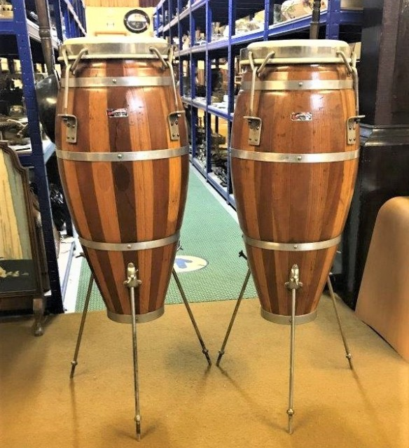 Vintage Pair of Mixed Wood Conga Drums