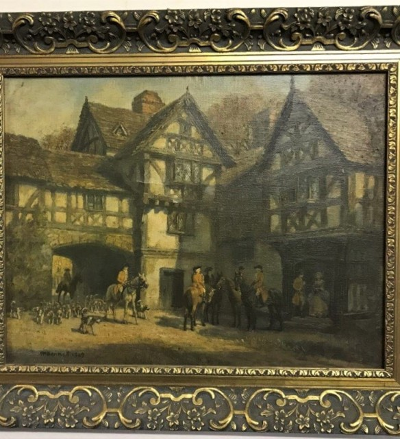 "Oleograph Print ""Meet at the Manor"""