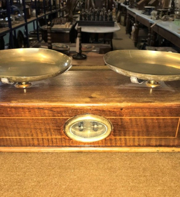 Mahogany and Brass Bakers Scales