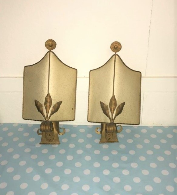 Pair of Mid Century German Wall Mounted Uplighters