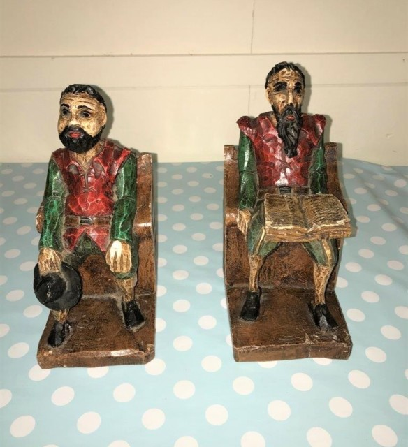 Pair Wooden Carved Bookends