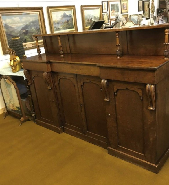 Victorian 4 Door Burr Oak Veneer Chiffonier Sideboard