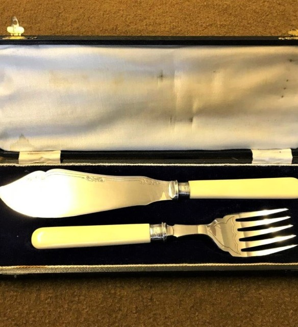 Early 20th C Fish / Cake Knife and Fork Set