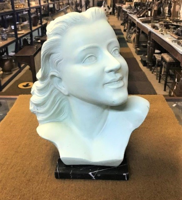 Art Deco Plaster Bust of a Woman on a Marble Plinth