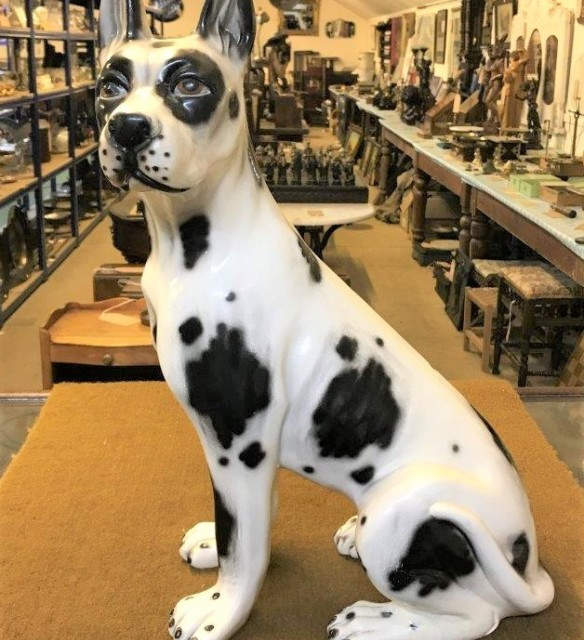 Ceramic Black and White Great Dane