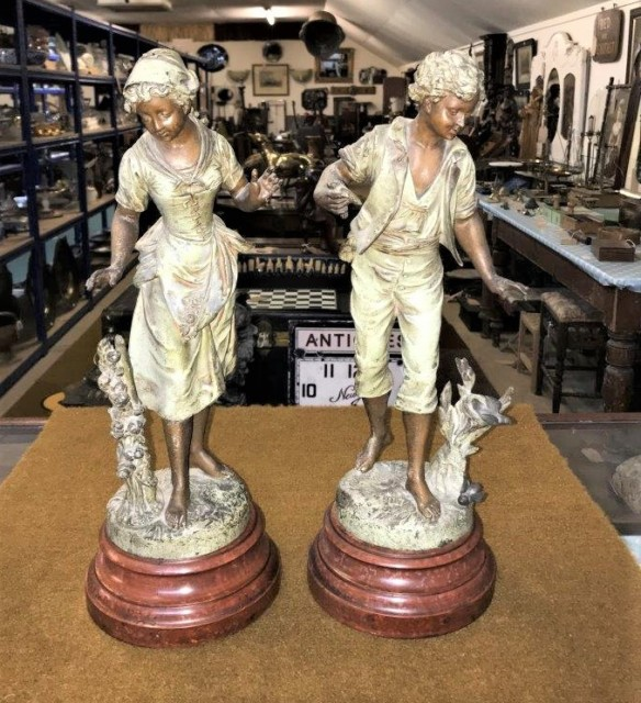 Pair of French Patinated Spelter Figures